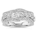 Round Diamond Wave Ring in 14k White Gold