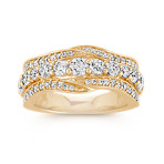 Round Diamond Wave Ring in 14k Yellow Gold