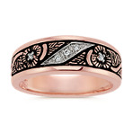 Round Diamond Wedding Band in 14k Rose Gold with Black Antique Finish (6mm)