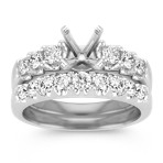 Round Diamond Wedding Set in 14k White Gold