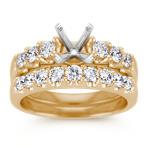 Round Diamond Wedding Set in 14k Yellow Gold