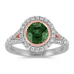 Round Green Sapphire and Diamond Ring in White and Rose Gold
