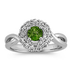 Round Green Sapphire and Round Diamond Ring