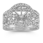 Round Halo and Swirl Engagement Ring with Round Pavé-Set Diamonds