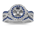 Round Halo Infinity Wedding Set with Round Traditional Sapphire and Diamond