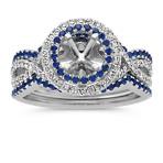 Round Halo Infinity Wedding Set with Round Traditional Sapphire and Diamond