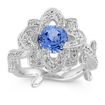 Round Ice Blue Sapphire and Round Diamond Floral Ring