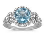 Round Ice Blue Sapphire and Round Diamond Ring