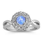 Round Ice Blue Sapphire and Round Diamond Ring