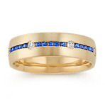 Round Kentucky Blue Sapphire and Diamond 14k Yellow Gold Band (6.5mm)