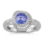 Round Kentucky Blue Sapphire and Diamond Swirl Ring