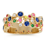 Round Multi-Colored Gemstone Rainbow Ring
