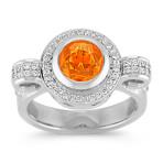 Round Orange Sapphire and Diamond Ring