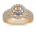 Round Pavé Set Diamond Halo Engagement Ring in 14k Yellow Gold