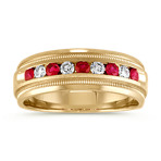 Round Ruby and Diamond Classic Ring in 14k Yellow Gold (7.5mm)