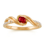 Round Ruby and Diamond Ring in 14k Yellow Gold