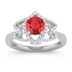 Round Ruby and Diamond Ring with Pavé Setting