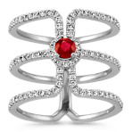 Round Ruby and Diamond Triple Stacked Ring