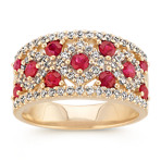 Round Ruby and Round Diamond Classic Ring in 14k Yellow Gold