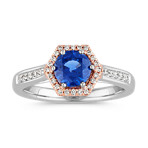 Round Traditional Sapphire and Diamond Ring in 14k White and Rose Gold