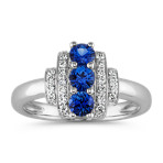 Round Traditional Sapphire and Diamond Three-Stone Ring