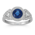 Round Traditional Sapphire, Trillion and Round Diamond Ring