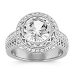 Round White Sapphire and Round Diamond Vintage Halo Ring
