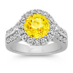 Round Yellow Sapphire and Diamond Halo Ring