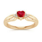 Ruby Heart and Diamond Fashion Ring