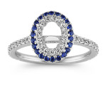 Sapphire and Diamond Halo Engagement Ring in 14k White Gold