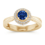 Sapphire and Diamond Ring with Pavé-Setting