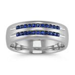 Sapphire Men's Band in 14k White Gold (7mm)