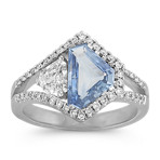 Shield Ice Blue Sapphire and Diamond Ring