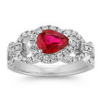 Sideways Pear-Shaped Ruby and Diamond Ring