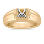 Square Center Solitaire Men's Engagement Ring in 14k Yellow Gold (8mm)