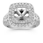 Square Double Halo Engagement Ring with Pavé-Set Round Diamonds