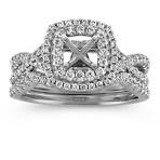 Square Double Halo Infinity Diamond Wedding Set