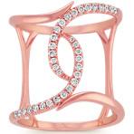 Swirl Diamond Fashion Ring in 14k Rose Gold