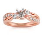Swirl Diamond Fashion Ring in Rose Gold