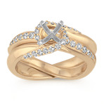 Swirl Diamond Wedding Set with Pavé-Setting in 14k Yellow Gold