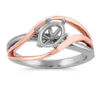 Swirl Ring in 14k Rose and White Gold