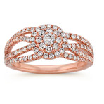 Swirl Round Diamond Cluster Ring in 14k Rose Gold