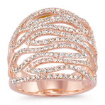 Swirl Round Diamond Ring in 14k Rose Gold