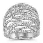 Swirl Round Diamond Ring in 14k White Gold