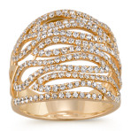Swirl Round Diamond Ring in 14k Yellow Gold
