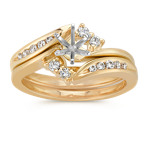 Swirl Round Diamond Wedding Set in 14k Yellow Gold