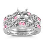 Swirl Vintage Pink Sapphire and Diamond Wedding Set