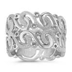 Swirling Sterling Silver Ring with Stardust and Polished Finishes