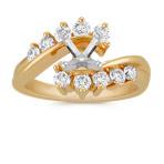 Ten-Stone Swirl Diamond Engagement Ring