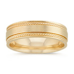 Textured Comfort Fit Ring with Satin Finish in 14k Yellow Gold (6mm)